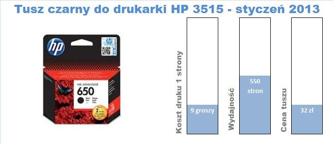 Tusz czarny HP 650 do HP 3515
